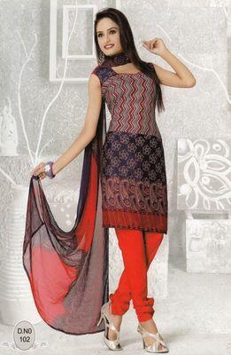 Dress Material Elegant French Crepe Printed Unstitched Salwar Kameez Suit D.No N102