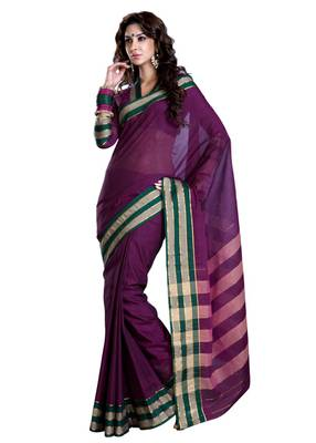 ISHIN Cotton Purple Saree Mayanka