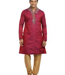 Buy crimson brocade kurta_pyjama men-festive-wear online