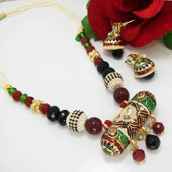 Meenakari Cylindrical Pendant Necklace Green Black Maron