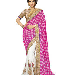 Buy Pink embroidered Georgette saree with blouse brocade-saree online