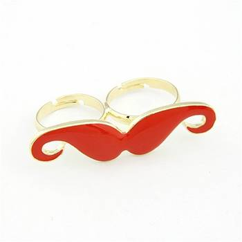 Mustache Double Finger Ring Red