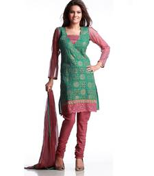 Buy Dynamic Gold Print Suit With Patch Work salwars-and-churidar online