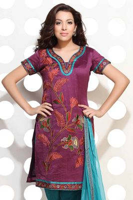 A Beautiful Purple Handloom Silk embroidered suit