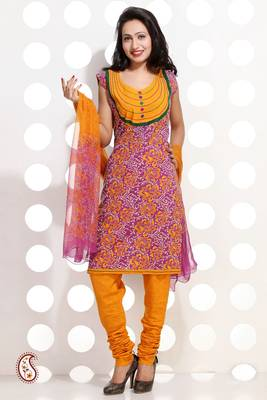 Purple and Yellow Block Print Cotton suit