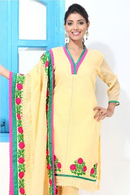 Mango yellow and Croatia lace embroidery suit