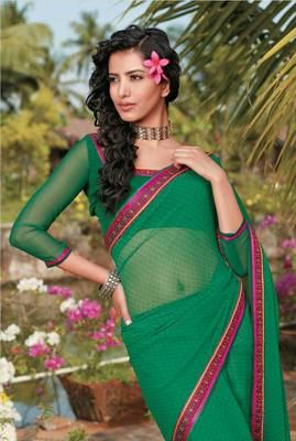 Green printed georgette casual saree with lace border - Riyaa 902598