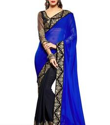 Buy BLUE HAVY EMBROIDERY GEORGETTE SAREE WITH BLOUSE shimmer-saree online