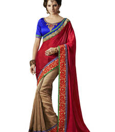 Buy RED HAVY EMBROIDERY GEORGETTE SAREE WITH BLOUSE shimmer-saree online