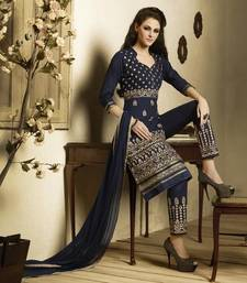 Buy Navy Blue embroidered Pure Cotton unstitched salwar with dupatta black-friday-deal-sale online