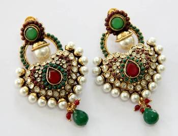 ANTIQUE GOLD PLATED RED GREEN N WHITE PEARLS HANGINGS