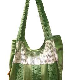 Buy Luscious green colour sequined jhola bag jhola-bag online