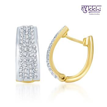 Sukkhi Glimmery Gold and Rhodium Plated CZ Earrings(130E2350)