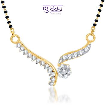 Sukkhi Magnificent CZ Gold and Rhodium Plated mangalsutra(124M500)