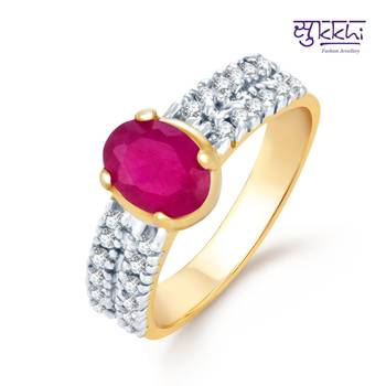 Sukkhi Fascinating Gold and Rhodium Plated Ruby CZ rings(155R730)