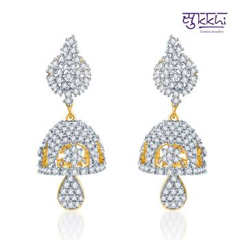 Sukkhi Glorius Gold and Rhodium Plated CZ Jhumki(152E4070)