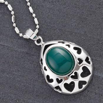 Dark Green Oval Agate Silver Pendant