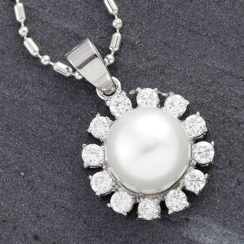 Round Pearl and CZ pendant
