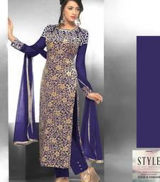 Buy Dark Blue embroidered Velvet and Brasso semi stitched salwar with dupatta cotton-silk-suit online