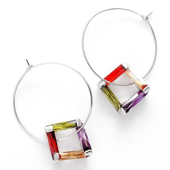 Bohemian Crystal Hoop Earrings