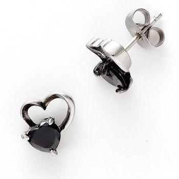 Black Agate heart Earrings