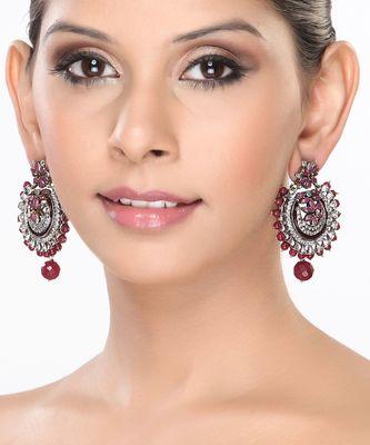 CZ and Rubies Chand Bali Earrings