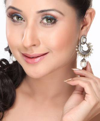 Pearl and CZ Chand Bali Earrings