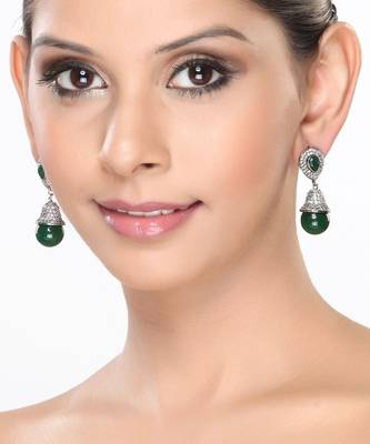 Bell shaped earrings with Emeralds and CZ