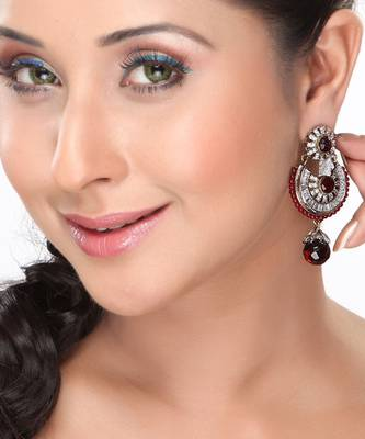 Red Onyx and CZ Chand Bali Earrings