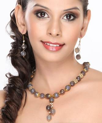 Grey Agate Filigree Beads and Pearl Necklace set