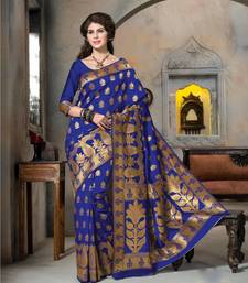 Buy blue woven Silk saree with blouse kanchipuram-silk-saree online