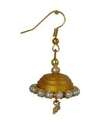 Buy Handmade Paper Jwellery/Quilled Earings -golden jhumkas jewellery-below-200 online