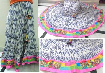 White/blue ikkat print cotton long skirt