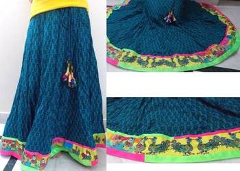 Teal blue block printed cotton long skirt