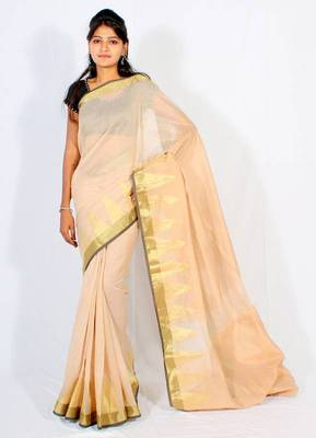 Supernet cotton zari border saree