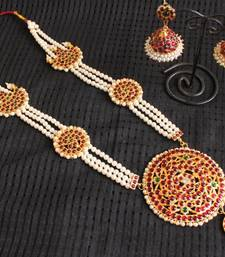 Buy TRADITIONAL PEARL 3 LAYER LONG HAAR SET - DJ16988 diwali-jewellery online