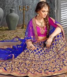 Buy Blue Embroidered Net Lehenga with Blouse wedding-lehenga online