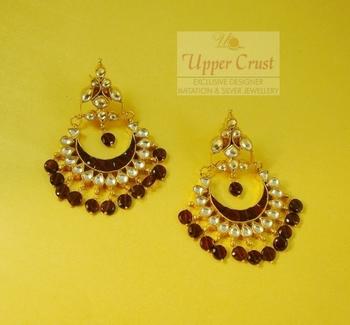 Kundan garnate High End Chand Bali Baali Earrings