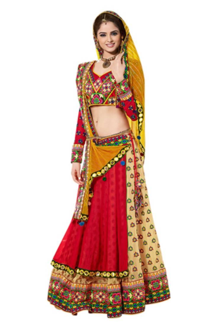 Buy Red And Yellow Kachhi Work Lehenga Choli Online