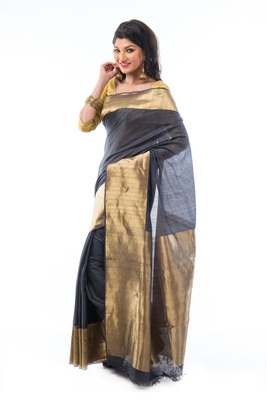 Grey hand_woven silk saree with blouse