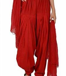 Buy Red Cotton Patiyala and Dupatta Set other-apparel online