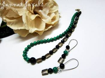 Malachite Green and Black Onyx neckset