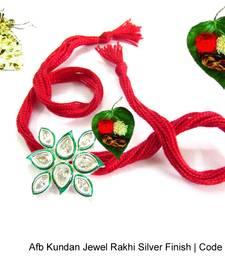 Buy AD Kundan Silver Rakhi silver-rakhi online