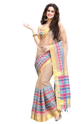 Beige Pure Cotton Saree with Zari & Running Blouse