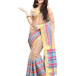 Buy Beige Pure Cotton Saree with Zari & Running Blouse Woman online