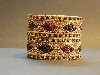 Indian handmade designer Red/Green Bangle