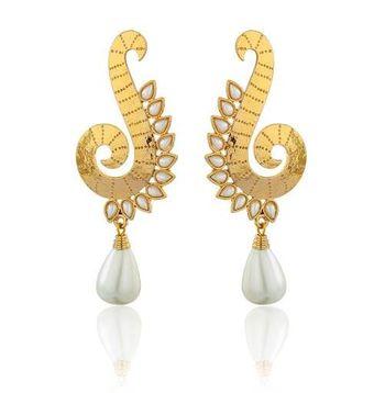 Kshitij Golden Pearl Snake Earrings