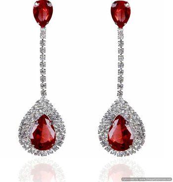 Kshitij Jewels Crystal Stone Studded Long Earrings - Red