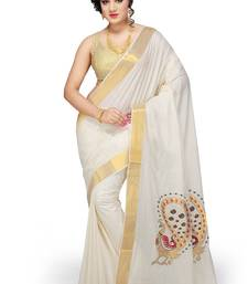 Buy Fashionkiosks Cream cotton embroidary saree  south-indian-saree online