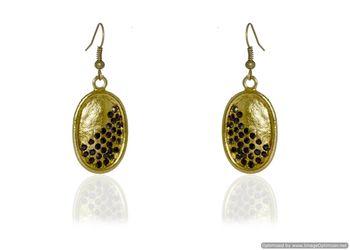 Kshitij Jewels Black Stone Studded Golden Oval Earrings